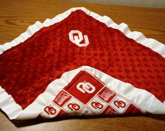 OU Oklahoma University Boomer Sooners Red White Patchwork Cotton and Red Minky White Satin ruffle lovey 16 x 16