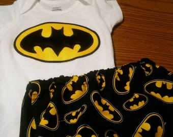 Batman boys birthday portraits Diaper Booty Cover AND Onesie 12 MONTHS
