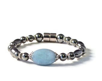 Black Magnetic Hematite Bracelet, Turquoise Czech Glass, Good Health Jewelry