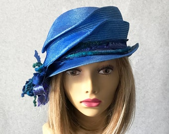 Kitty, hand sculpted artsy parasisal straw hat , with a mixed media sash, millinery hat, summer straw hat