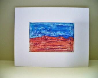 Utah Landscape Red Rock Blue Sky Embellished Monotype Original Art