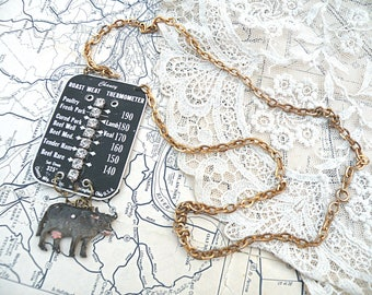 oddity necklace industrial assemblage cow random found object oven salvage repurposed thermometer plate