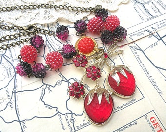 strawberry necklace assemblage raspberry fruit recycled vintage jewelry summer berry romantic blackberry