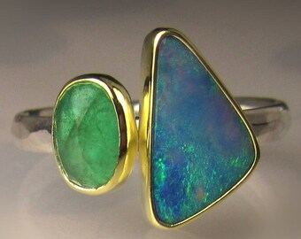 Boulder Opal and Rose Cut Emerald Gemstone Ring,18k Gold and Sterling Silver, Opal and Emerald Ring