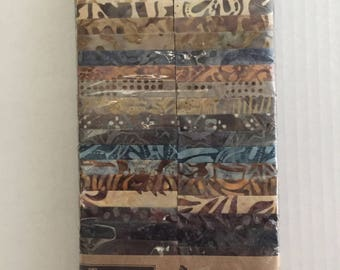 "50% OFF SALE - Coffee Cake Tonga Treats by Timeless Treasures/Batik Fabric 2.5"" Strip Pack"