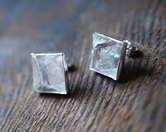 Emerald Raw Crystal Stud Earrings