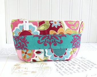 Cosmetic Bag Makeup Bag Colorful Jewel Tones Patchwork Zipper Pouch Organizer