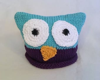 READY TO SHIP Knit Cotton Baby Owl hat, great photo prop