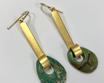 Long gold bar earrings with vintage turquoise drops