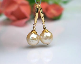 Baroque Pearl Earrings | Ivory Champagne Kasumi Freshwater Pearls | Gold Vermeil Leverback Dangles | Birthday Gift | Bridal | Ready to Ship