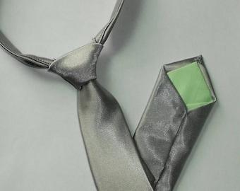SALE Grey/Silver Satin Necktie -Skinny or Standard Width -  Infant, Toddler, Boy-      2 weeks before shipping