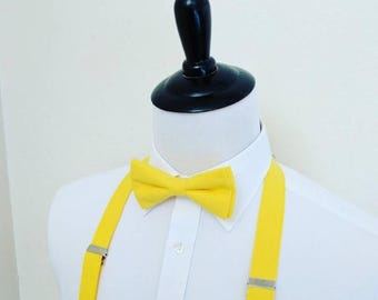 Bright Yellow Bowtie and Suspenders. Men, teen, youth. 2 weeks before shipment. Wedding