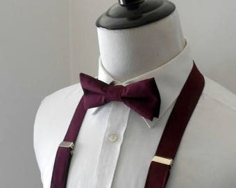 Burgundy Bowtie and Suspenders Set- Men's, Teen, Youth. 2 weeks before shipping
