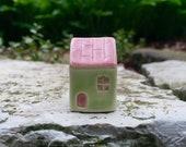 Little Green House / Miniature Terrarium Cottage/ Clay House