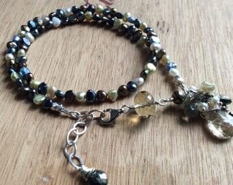 Pearl Wrap Bracelet Gem Cluster Dangle Sterling Silver Bracelet