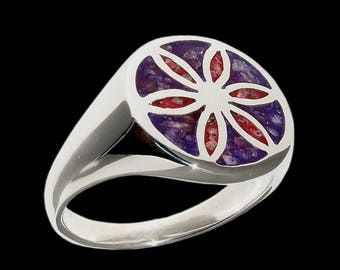 Sterling Silver Aphrodite Ring -  ALL SIZES - with crushed quartz ruby amethyst