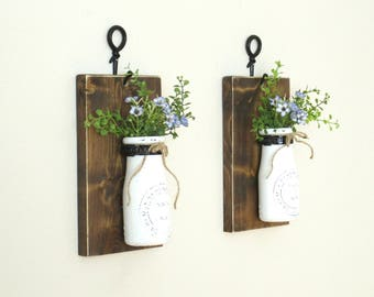 New..Rustic Farmhouse Wood Wall Sconce..  2 Individual Hanging Vintage Milk Bottles..Chic Farmhouse Wall Sconces..Painted Milk Bottles