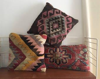 Vintage Kilim Pillow Antique Triangles