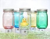 Mason Jar NightLight, blue, clear, green, pink, yellow, LED, DIY design