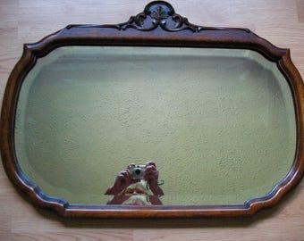 Large Antique Mirror - Oak Frame - Decorative Carving - Beveled Glass