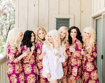 Burgundy Bridesmaids Robes Sets | Kimono Robes. Bridesmaids gifts. Getting ready robes. Bridal Party Robes. Floral Robes. Dressing Gown
