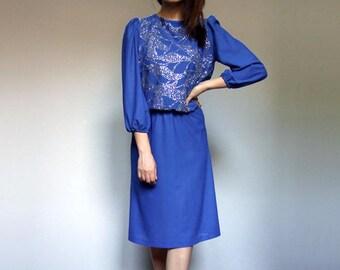 Blue Party Dress Vintage Silver Sparkle Dress Puff Sleeve Vintage Holiday Dress - Large L