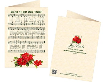 SILENT NIGHT Holy Night Vintage Christmas Carol 5x7 Greeting Card Blank Inside Vintage-Look Christmas Card Natural Parchment Poinsettia Sale