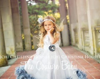 Silver & Grey Tulle Beautiful Couture Flower or Birthday Girl Feather Dress and Headband Set (CLOSEOUT) Size 5/6 READY to SHIP