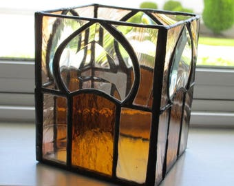 Beveled and Stained Glass Candle Holder