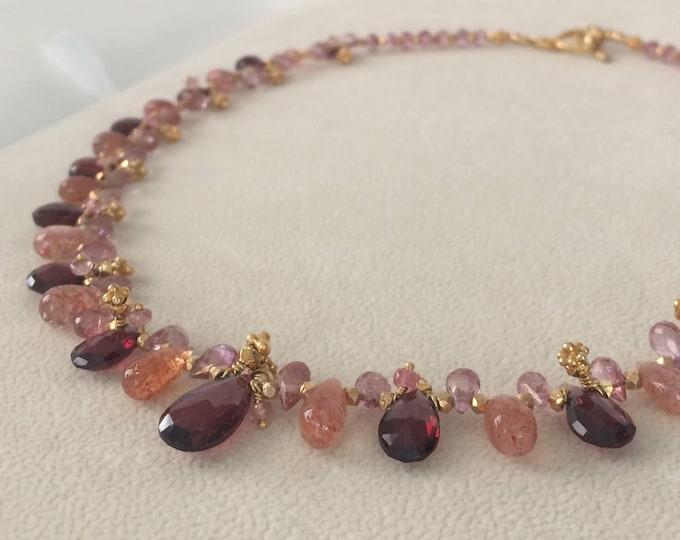 Semiprecious Gemstone Necklace in Gold Vermeil with Garnet, African Sunstone, Mystic Pink Quartz, Mystic Pink Topaz