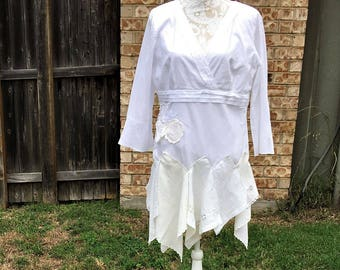 Altered Women's White Cotton, Lace and Hankies Dollies Top,Altered Couture, Magnolia Pearl Style, Size 12, Shabby Chic,Romantic Tunic,Blouse
