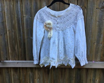 Creme Cotton and Crocheted Altered Blouse, shabby chic, romantic blouse,Vintage Style, size Small ,cottage chic , mori girl style