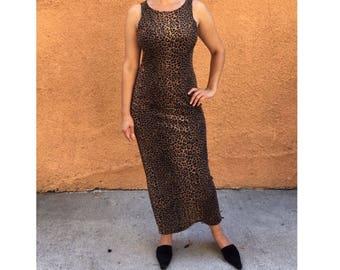Vintage long cheetah print knit sleeveless dress (L)