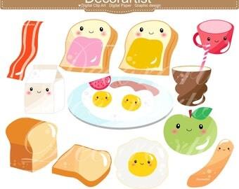 ON SALE Breakfast Clip Art _ Food Clip Art. Kawaii Bread Milk Cookies Toast Egg Bacon Clip Art,Cute Face Food Clipart,Fruit Planner supplies