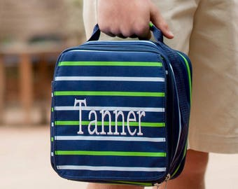 Monogrammed Navy Striped Shoreline Lunchbox; Perfect for Boys; Back to School