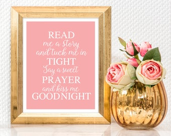 printable artwork read me a story - pink baby girl wall art quote saying nursery decor download, typography goodnight prayer girls bedroom
