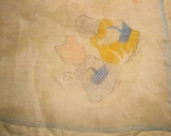 Pair of Whisper Thin Silk Antique Children's Sunbonnet Babies Handkerchiefs