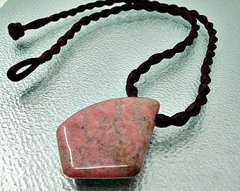 Pink rhodonite pendant. Rhodonite necklace. Rhodonite jewelry.