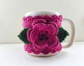 Floral Cup Cosy, Cup Sleeve, Mug Cosy, Cup Cozy, Mug Sleeve, Mug Warmer - in Merino Wool & Cotton mix