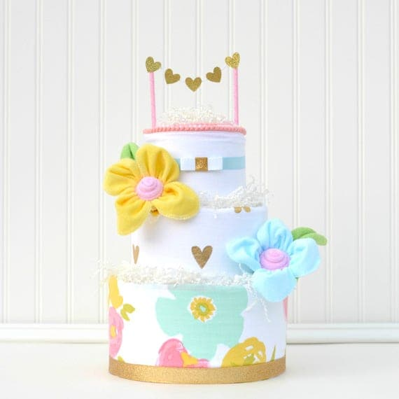 Floral Baby Shower Decor, Watercolor Floral Shower, Girl Diaper Shower Cake, Baby Girl Diaper Cake, Girl Shower Centerpiece, Floral Fields