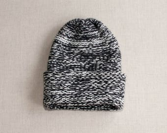 Pure Cashmere Heavyweight Beanie in Color Coal/Canvas
