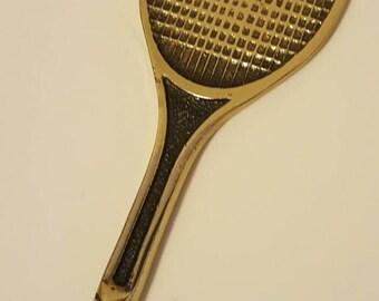 Solid brass tennis racket bottle opener. Vintage 1970's.