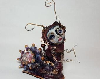 Art Doll Original Fantasy Sculpture - OOAK Steampunk Mechanical Snail