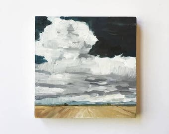 "Dry Horizon • original oil painting 6x6"""