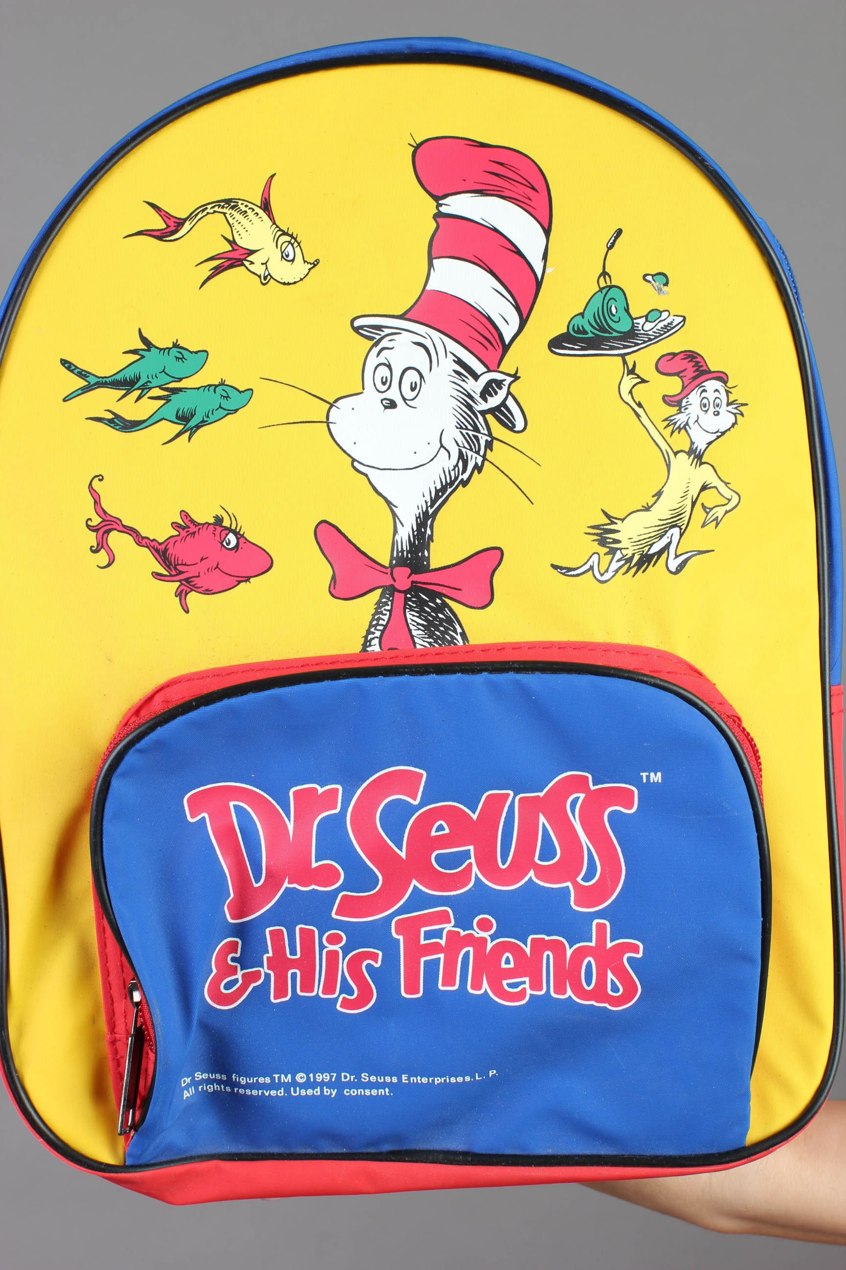 vintage dr seuss primary colors mini backpack book bag club kid cat in the hat 90s - Primary Colors Book