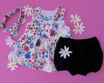 Baby toddler dress pinafore wildflowers blue red green with matching top knot headband and navy bloomers