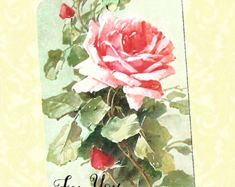 Gift Tags, Roses, Vintage Style, For You, Party Favors, Tags, Pink Rose Tags, Rose Tags