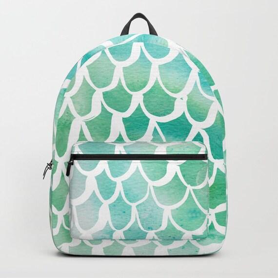 Aqua Backpack Sea green bookbag Mermaid backpack Mermaid bookbag Kids backpack Watercolor backpack Watercolor school bag Scallop backpack