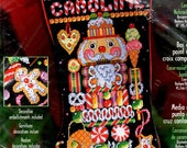 """Candy Nutcracker Kit Gingerbread Man Ice Cream Cone Star Mints Pretzels 18"""" Long Counted Cross Stitch Embroidery Craft Pattern"""