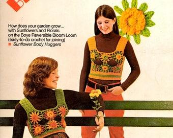 Bloom Loom Reversibles Flowers Worked on a Loom Vests Floral Fluff Dress Hat Craft Pattern Leaflet Boye 7692